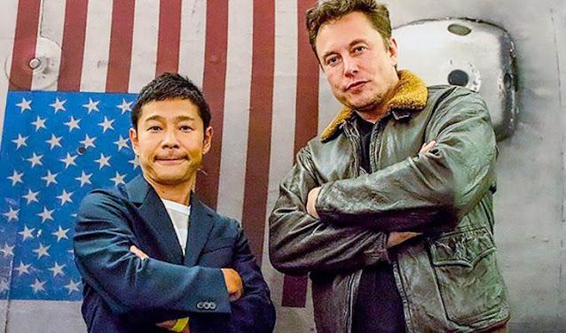 O bilionário japonês Yusaku Maezawa e Elon Musk CEO da SpaceX