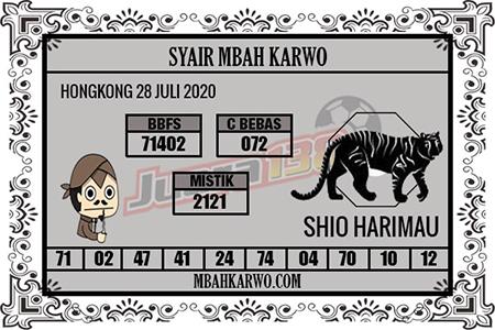 Syair Mbah Karwo HK Selasa 28 Juli 2020