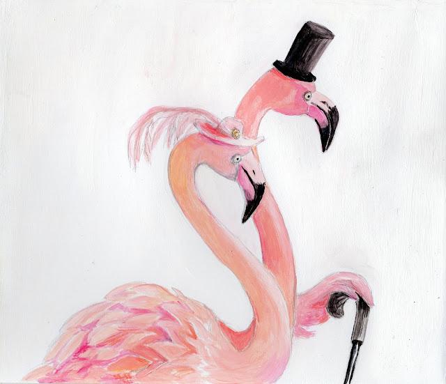Flamino illustration caple flamingos pink hat