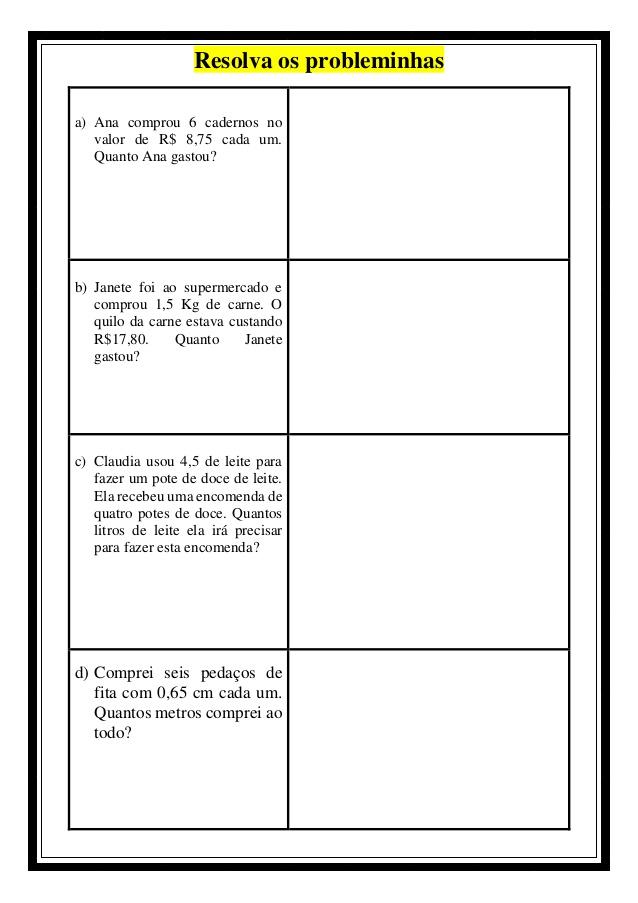 MULTIPLICAÇÃO DE NÚMEROS DECIMAIS EXERCÍCIOS