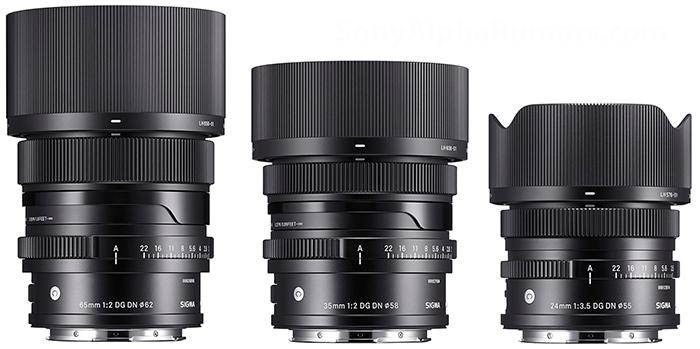 Сравнение габаритов объективов Sigma 24mm f/3.5, 35mm f/2.0 и 65mm f/2.0