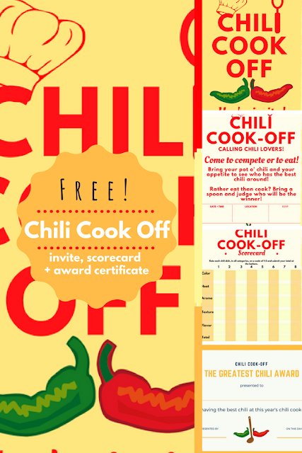 Chili Cook-off Insider: free invite, scorecard, and award certificate for a #chilicookoff