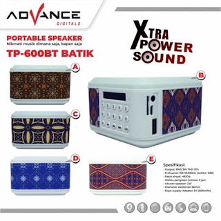 Speaker Advance TP 600 BT Batik Portable Digital TP-600BT Bluetooth