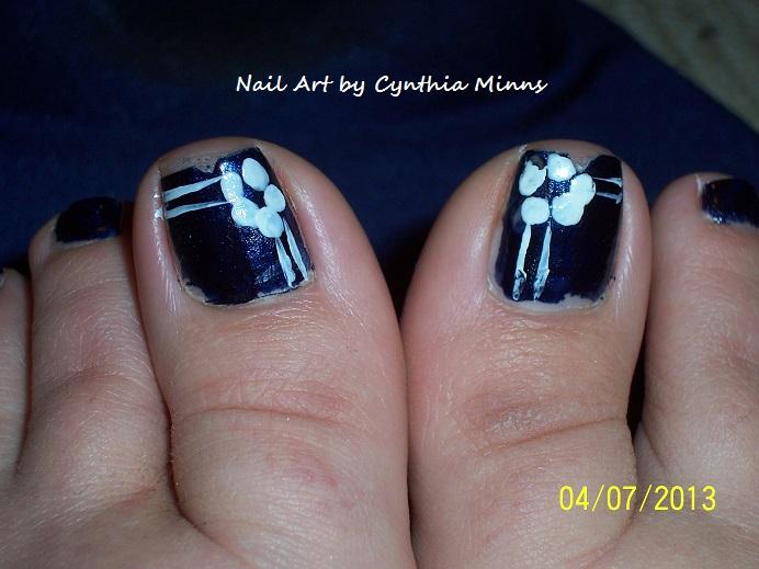 Navy Blue And White Nail Art Arte De Unas Arte De Unas