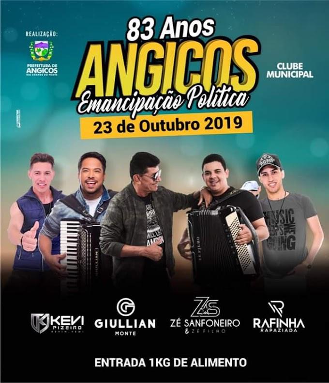 PREFEITURA realizará Festa de Emancipação Política de ANGICOS; confira as atrações