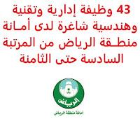 تعــلن أمــانة منطــقة الرياض, عن توفر 43 وظيفة إدارية وتقنية وهندسية شاغرة من المرتبة السادسة حتى الثامنة. وذلك للوظائف التالية: أولاً - وظــائف المــرتبة السادســة: - باحــث عمــليات مــوارد بشــرية. - مصــمم جرافيكــس. - باحــث إعلامــي مســاعد. - مصــور تليفزيونــي. ثانياً - وظــائف المــرتبة السابعــة: - مهــندس معــماري مســاعد (10 وظائف) - مهــندس مــدني مســاعد (7 وظائف) - مهــندس تخــطيط مــساعد (وظيفتان). - مهــندس زراعــي مســاعد. - مهــندس تنســيق مواقــع مســاعد. - مهــندس ميكانيكي مساعد. - مهندس بيئة مســاعد. - مهــندس مســاحة مســاعد (وظيفتان). - مطــور برامــج. - أخصــائي أمــن معــلومات. ثالثاً - وظــائف المــرتبة الثامــنة: - مهــندس معــماري (6 وظائف) - مهــندس مــدني (وظيفتان). - مهــندس تخــطيط (3 وظائف) - باحــث قانونــي. للتـقـدم لأيٍّ من الـوظـائـف أعـلاه اضـغـط عـلـى الـرابـط هنـا.     اشترك الآن في قناتنا على تليجرام     أنشئ سيرتك الذاتية     شاهد أيضاً: وظائف شاغرة للعمل عن بعد في السعودية     شاهد أيضاً وظائف الرياض   وظائف جدة    وظائف الدمام      وظائف شركات    وظائف إدارية                           لمشاهدة المزيد من الوظائف قم بالعودة إلى الصفحة الرئيسية قم أيضاً بالاطّلاع على المزيد من الوظائف مهندسين وتقنيين   محاسبة وإدارة أعمال وتسويق   التعليم والبرامج التعليمية   كافة التخصصات الطبية   محامون وقضاة ومستشارون قانونيون   مبرمجو كمبيوتر وجرافيك ورسامون   موظفين وإداريين   فنيي حرف وعمال