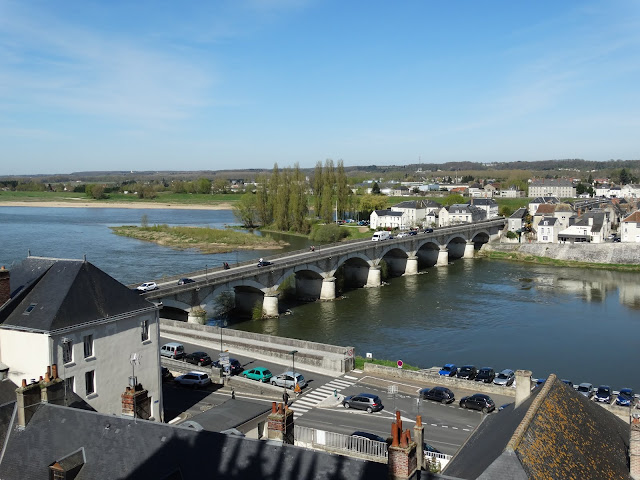 View of the bridge over the Loire river from the chateau in Amboise