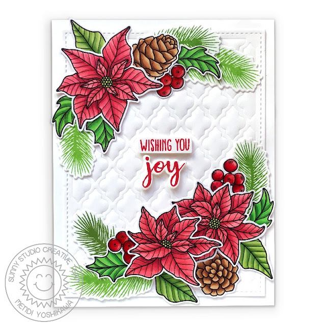 Sunny Studio Poinsettia Embossed Handmade Holiday Christmas Card (using Classy Christmas, Holiday Style Stamps  & Frilly Frames Quatrefoil & Retro Petal Dies)