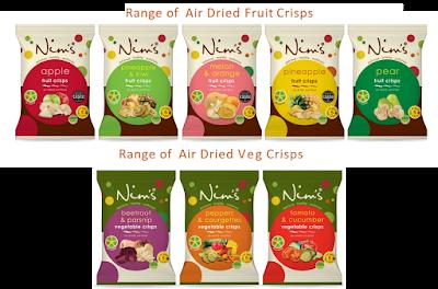 Nim's Fruit and Veg Air Dried Crisps range