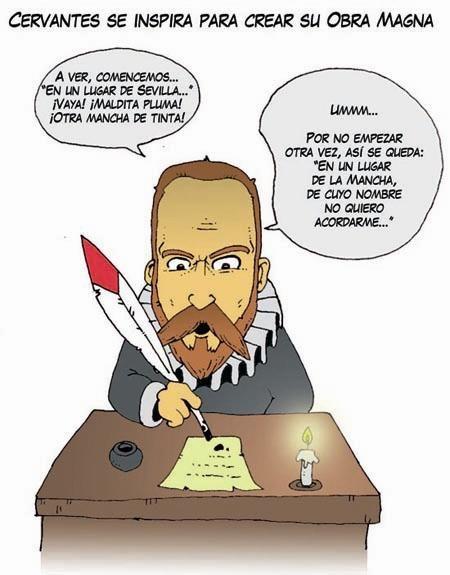 """Cervantes, principio de la obra. """"En un lugar de La Mancha..."""""""