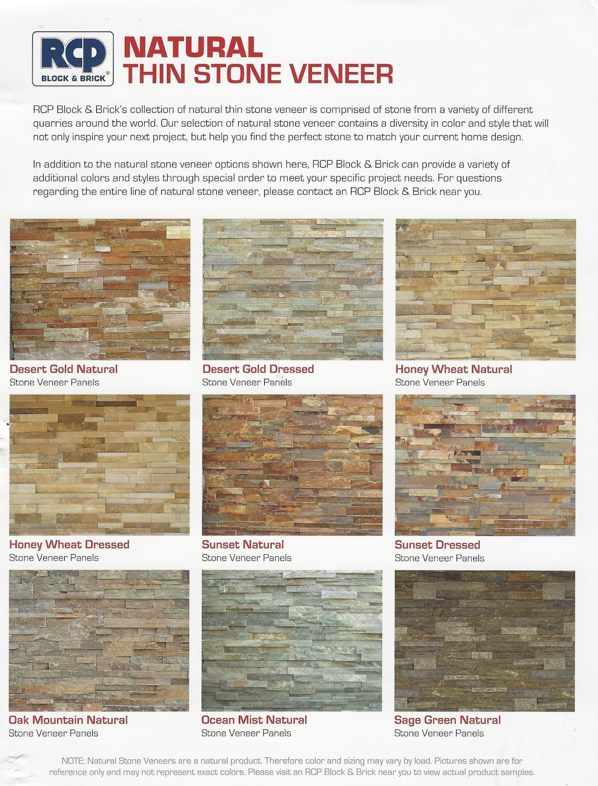 Colors may not represent actual product - Photo Thin Stone Veneer From Rcp Block Brick