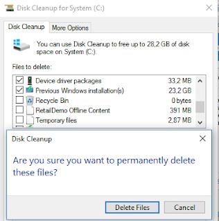 Proses menghapus Windows Old