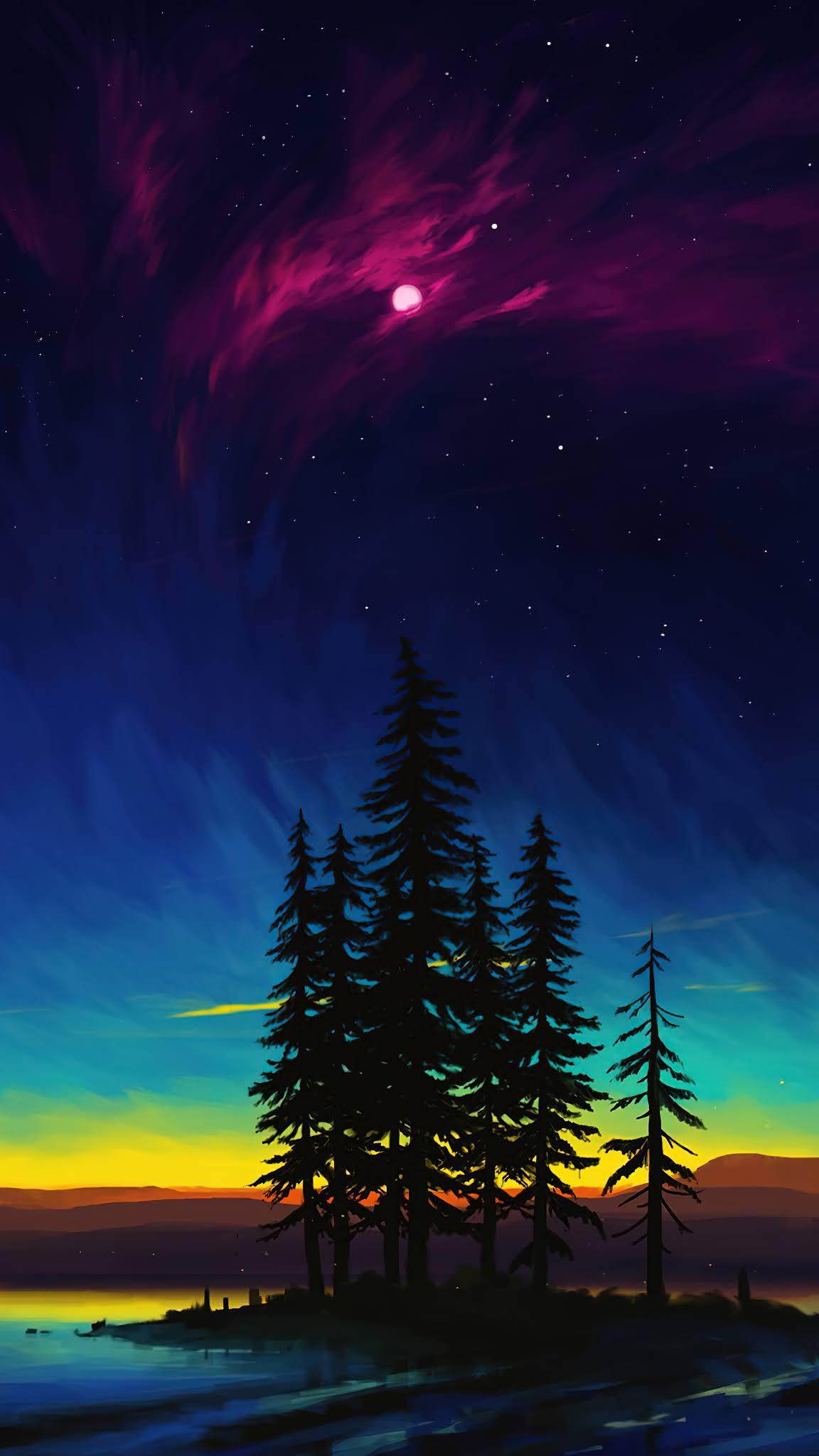Sunset Moon Night Sky Landscape Scenery Digital Art Mobile wallpaper