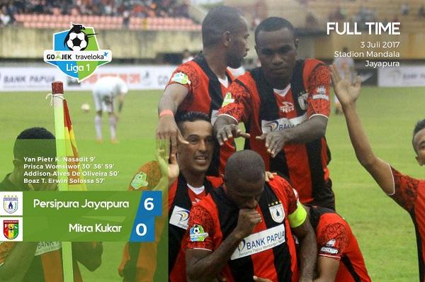 Kalahkan Mitra Kukar 6-0, Persipura Samai Rekor Madura United
