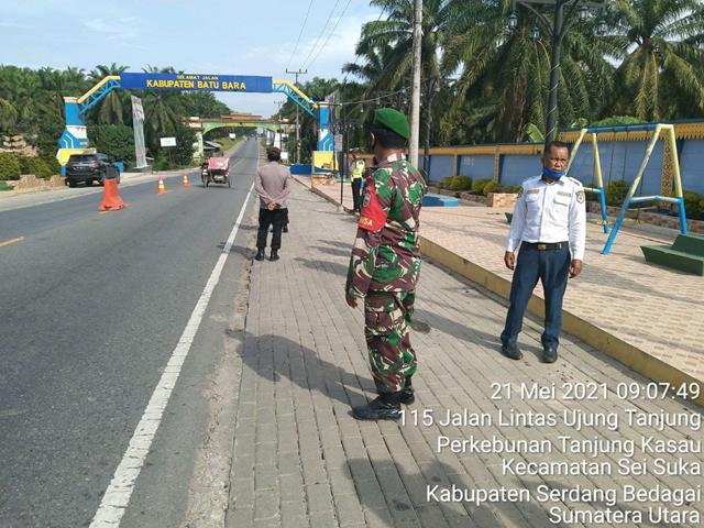 Opearasi Penyekatan dan Pengamanan Idul Fitri Dilakukan Personel Jajaran Kodim 0208/Asahan Diwilayah