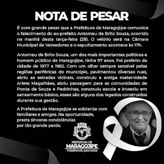 Imagem: Maragojipe: Prefeitura de Maragojipe emite nota do falecimento do ex-prefeito Antomeu de Brito Souza