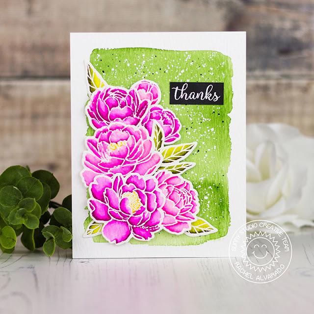 Sunny Studio Stamps: Pink Peonies Thank You Card by Rachel Alvarado