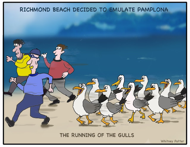 Three men run along the sand next to the water, hotly pursued by a cheerful pack of running seagulls. The caption says The Running of the Gulls.