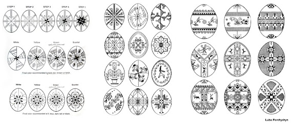 pysanky egg patterns step by step illustration for a few designs
