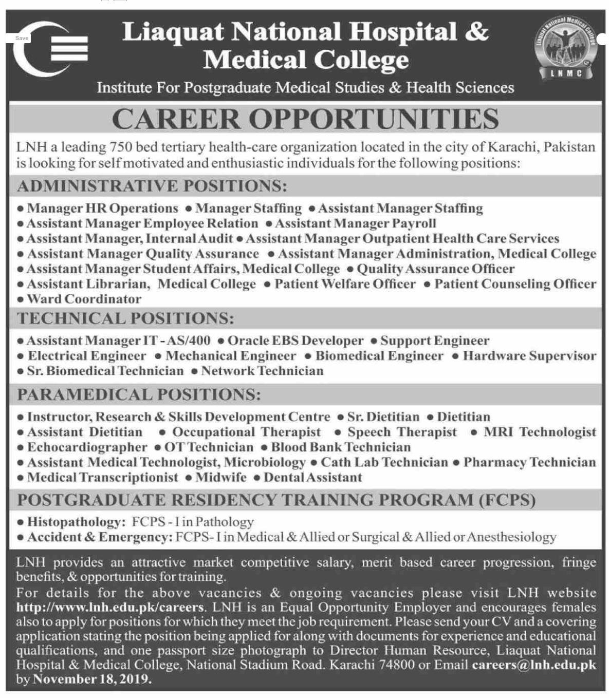 Liaquat National Hospital & Medical College Medical Posts Karachi 2019