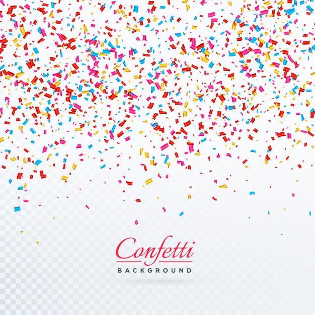 Colorful falling confetti background design Free Vector