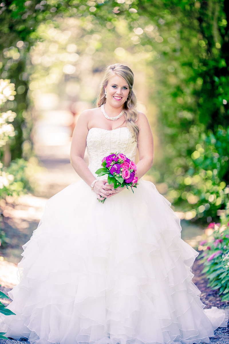 Bridal Pictures of Bride-weddingdress- Airlie Gardens Pergola - Wilmington NC Wedding Photographers