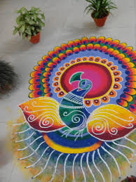 Simple Rangoli- Easy rangoli designs peacock