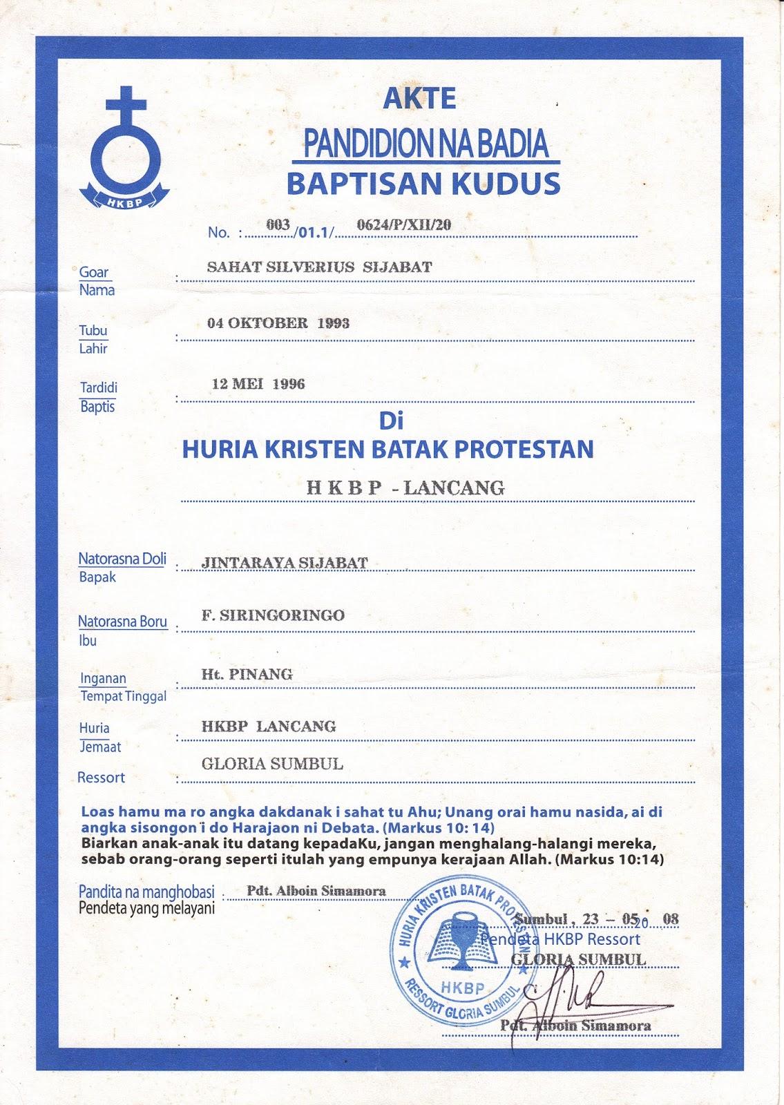 Surat Babtis Tardidi Di Gereja Hkbp