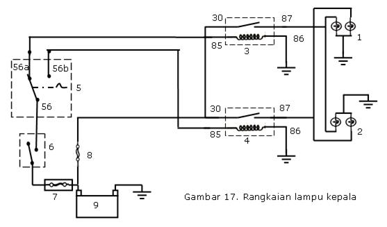 Gambar Diagram Wiring Rangkaian Kelistrikan Lampu Kepala