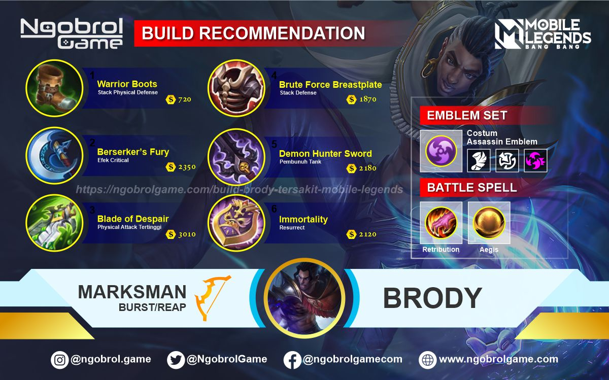 Build Brody Top Global Tersakit Mobile Legends