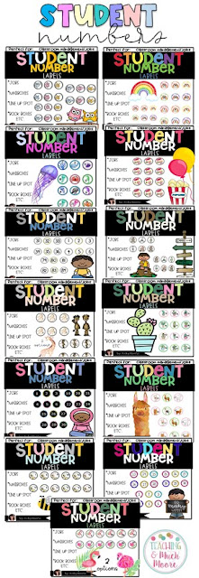 student number cubby labels