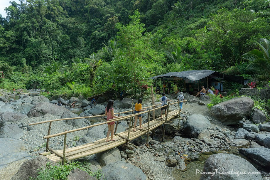 One of the makeshift bamboo bridges on the trail