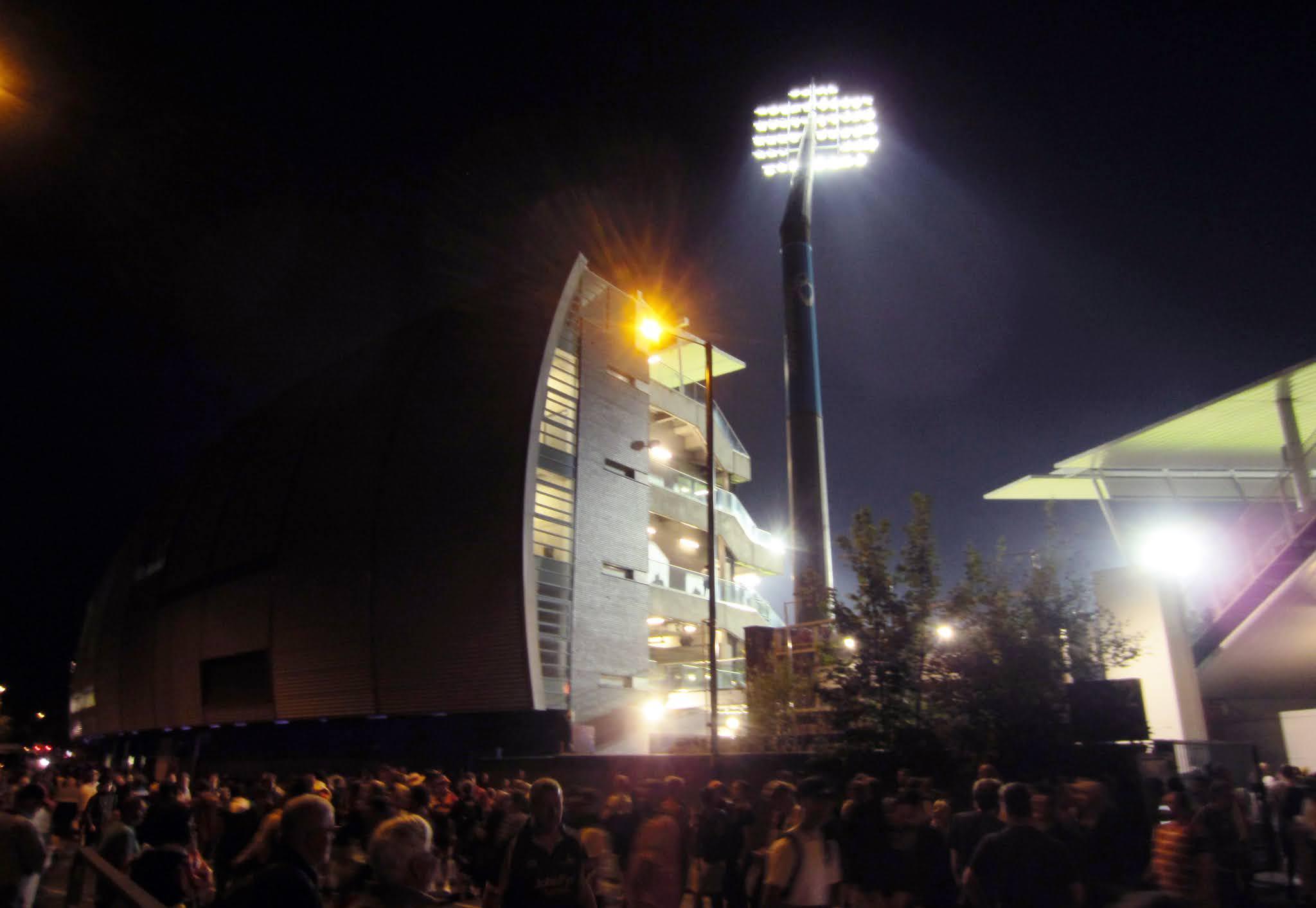 Edgbaston Stadium exterior at night