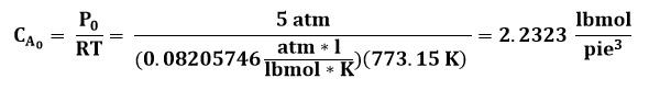 Concentración de la corriente de entrada al reactor de flujo pistón o PFR