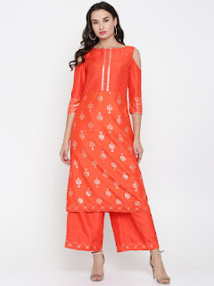 Anouk Women Orange Printed Kurta with Palazzos