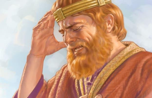 A imagem mostra uma ilústração do Rei Daví, da bíblia levando a mão a cabeça em forma de arrependimento, com uma feição triste no rosto.