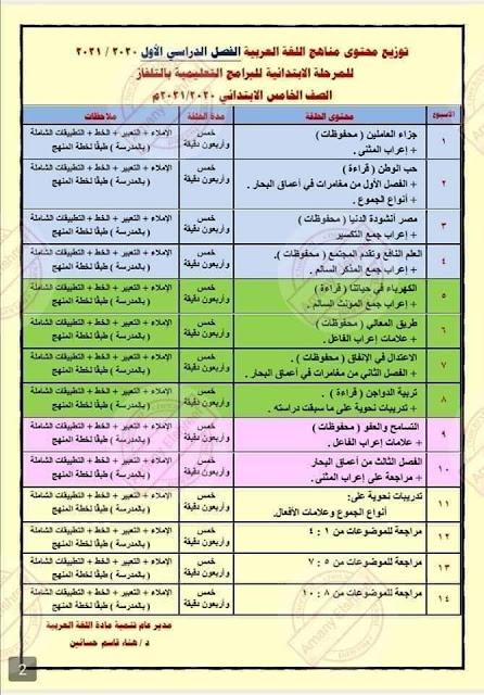 جدول منهج اللغة العربية قناة مدرستنا التعليمية