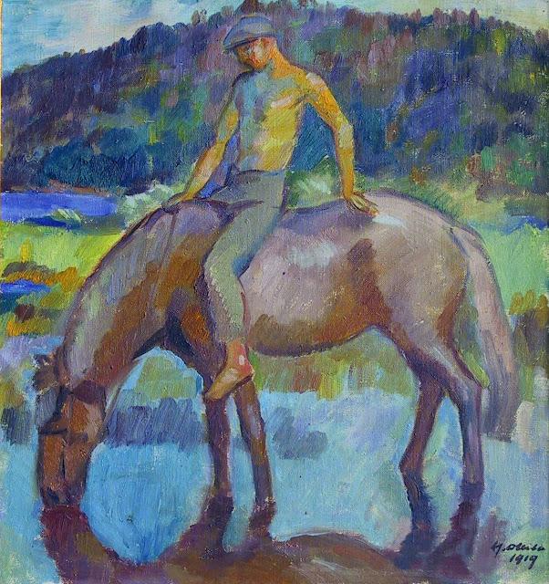 Hevonen ja poika: Maalauksellinen kuva hevosesta ja sen selässä olevasta pojasta. Hevonen juo vettä. Sillä ei ole satulaa. Pojan yläruumis on paljas.