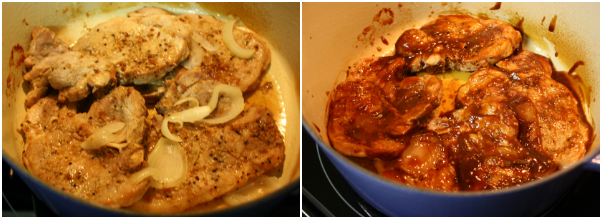 Cover The Dutch Oven And Bake The Pork Chops For 30 Minutes In A Separate Bowl Mix The Barbecue Sauce And And Apple Cider Together Using A Basting Brush