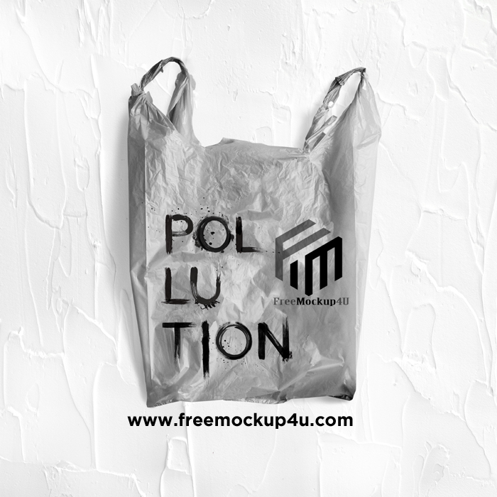 Pollution Word Written Gray Plastic Bag Mockup Template