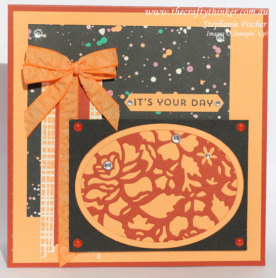 Stampin Up, #thecraftythinker, Detailed Floral Thinlits, Layered Card, Playful Palette DSP, Stampin Up Australia Demonstrator