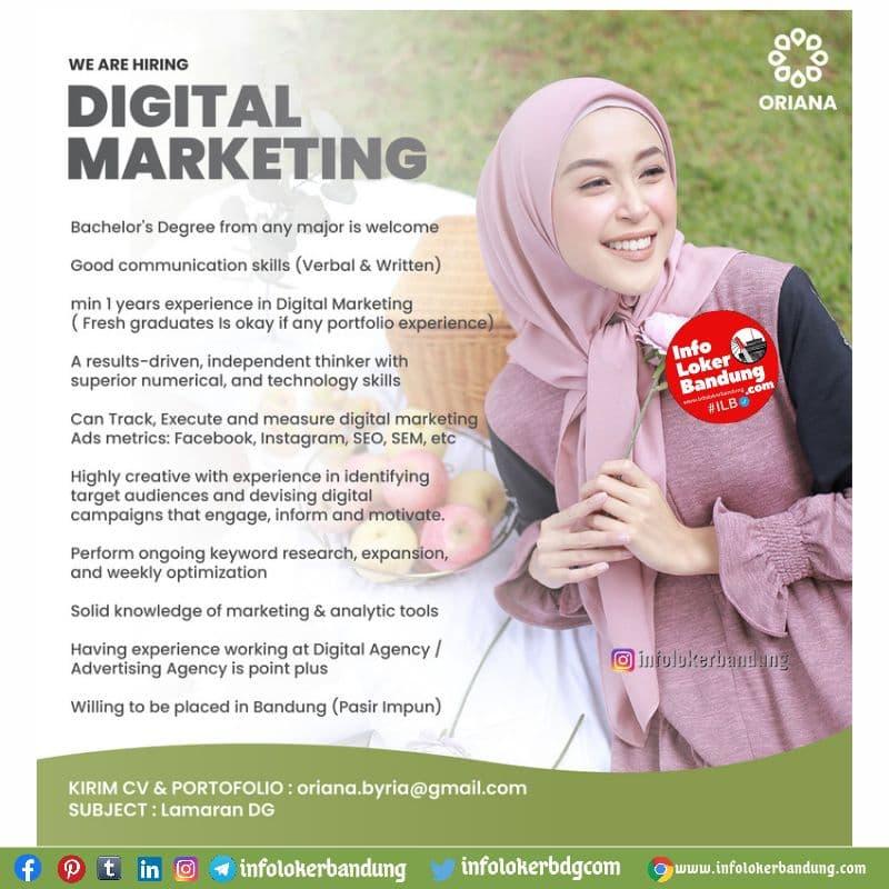 Lowongan Kerja Digital Marketing Oriana Boutique Bandung Juni 2021