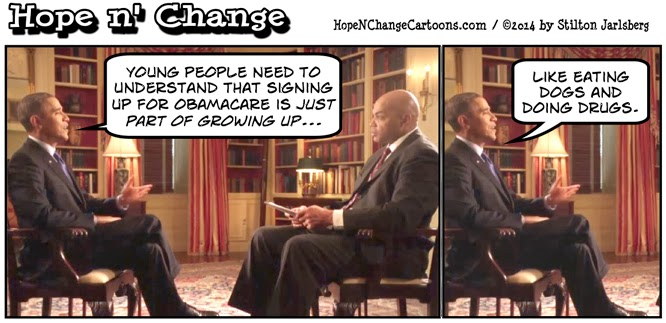 obama, obama cartoon, humor, political, funny, stilton jarlsberg, hope n' change, hope and change, obamacare, barkley, growing up, pajama boy