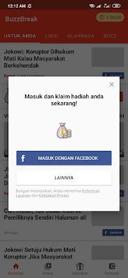 masuk dengan facebook dari aplikasi BuzzBreak