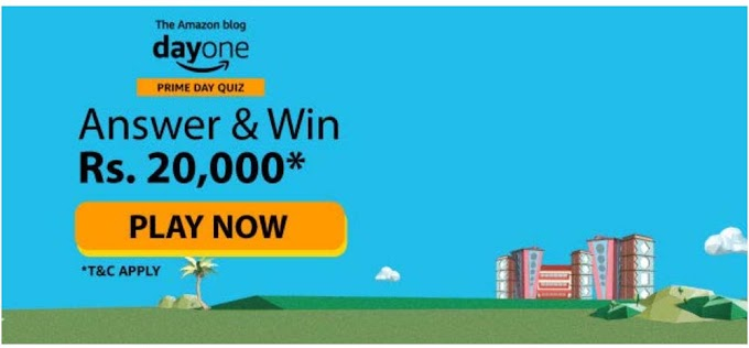 Amazon Blog Day One Quiz Answers Today Win Rs.20000 Pay Balance