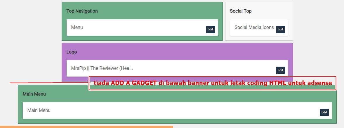 Tutorial Letak Add A Gadget  di Bawah Header Blog Untuk Iklan Adsense