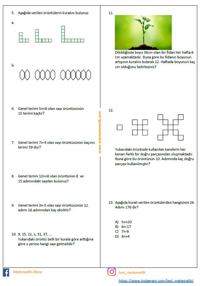 7 Sinif Oruntuler Ve Iliskiler Calisma Kagidi Test Matematik