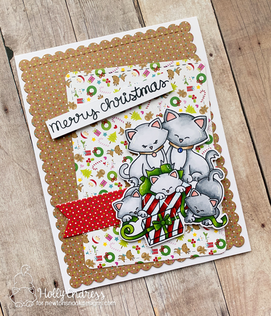 Kitty Family Christmas Card by Holly Endress | Newton's Christmas Kittens Stamp Set by Newton's Nook Designs #newtonsnook #handmade