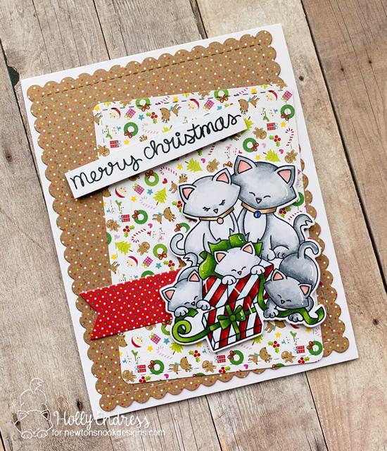 Kitty Family Christmas Card by Holly Endress | Newton's Christmas Kittens Stamp Set by Newton's Nook Designs #newtonsnook #handmade