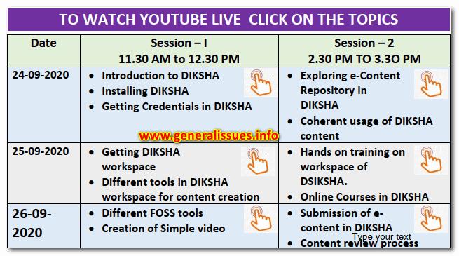 Diksha 3 day online trainning details